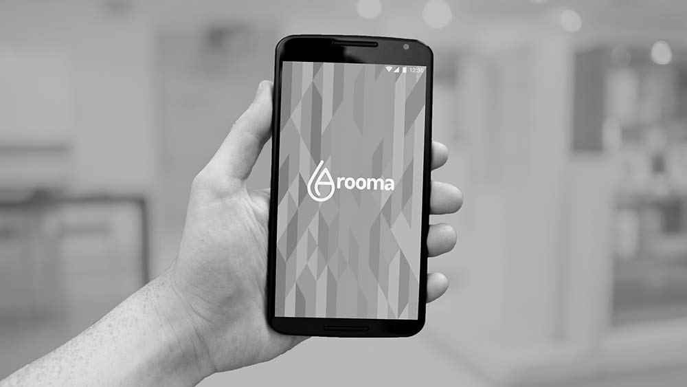 A preview of the app in use, showing off the Arooma brand and parts of the Arooma logo.