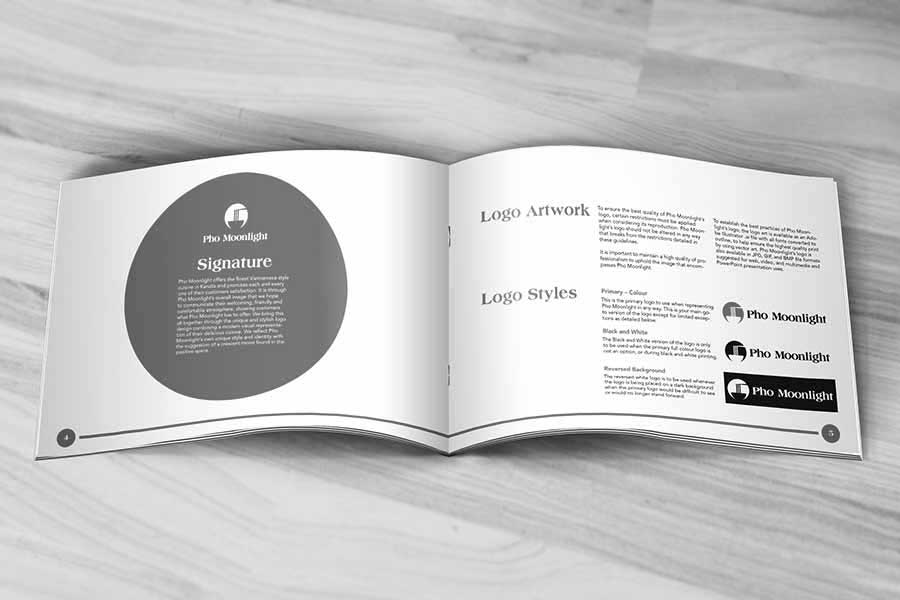 A preview of one of the branding projects I designed for Pho Moonlight. This image shows a page in the branding guide for the brand redesign I created for them including a modern and unique logo redesign.