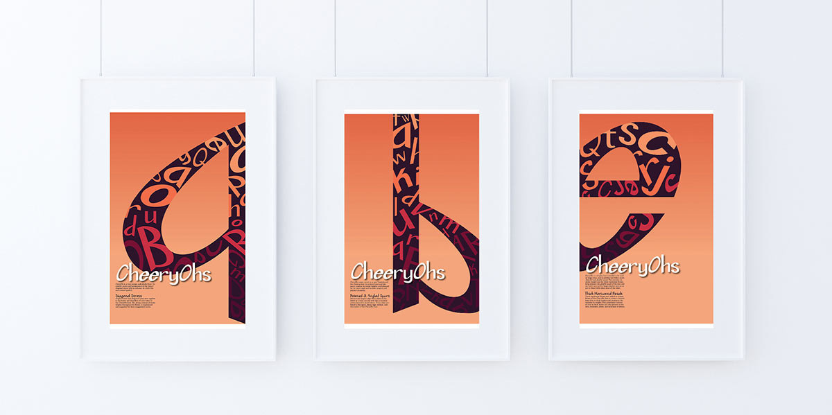Three posters introducing the varied features present in my CheeryOhs font design.