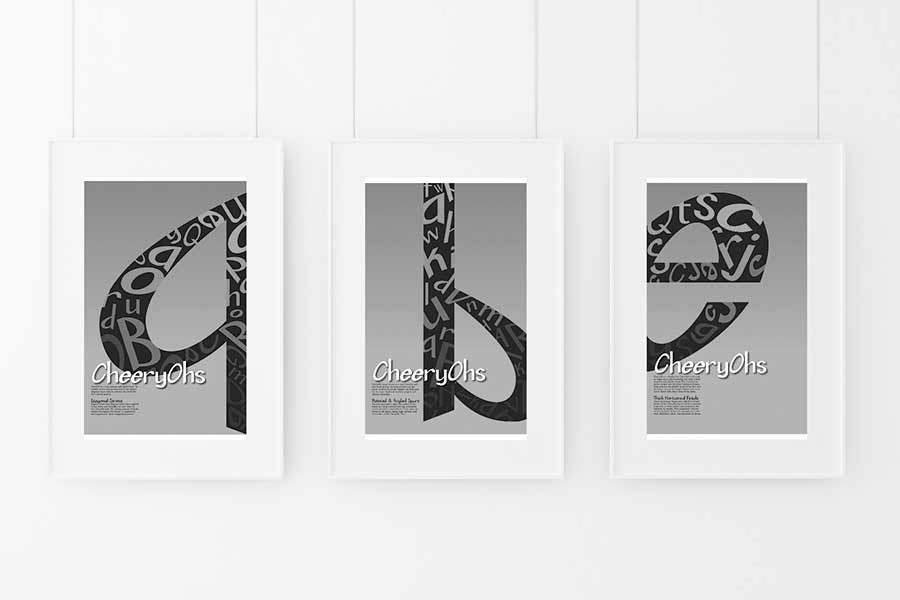 A preview of one of the print projects used in the section, showing three posters used to promote my personal font design: CheeryOhs.