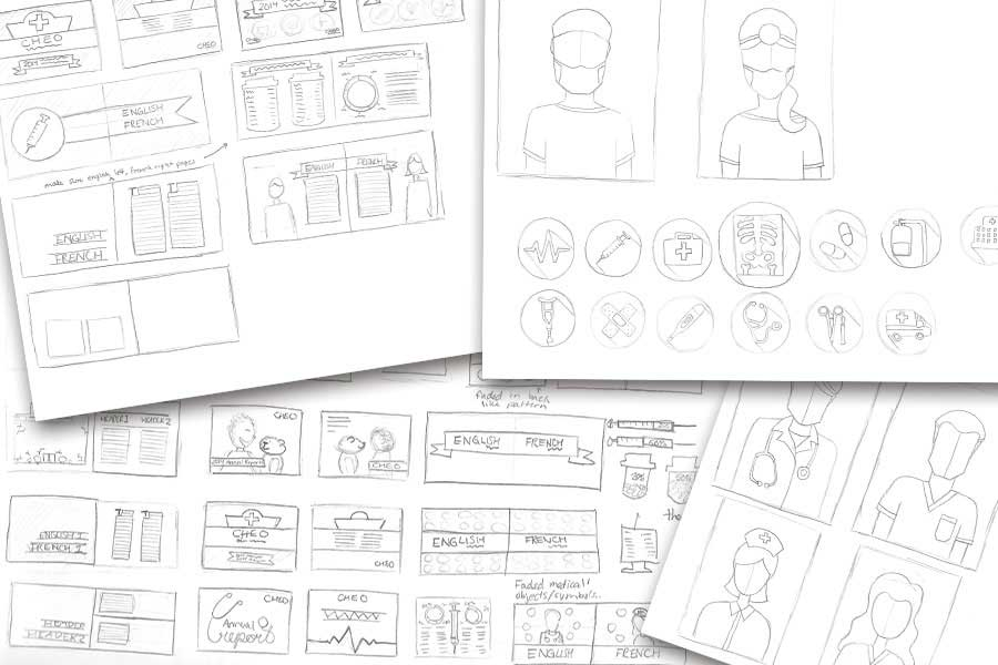 Pencil illustrations of potential page layouts for the annual report, and rough illustrations found throughout the book.