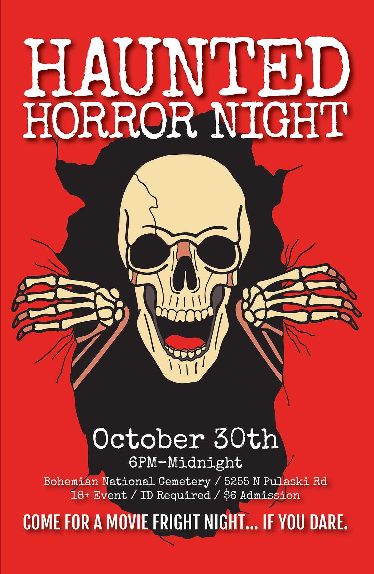 A red themed version of the Haunted Horror Night poster, giving a more gorey and graphic look to the illustration.