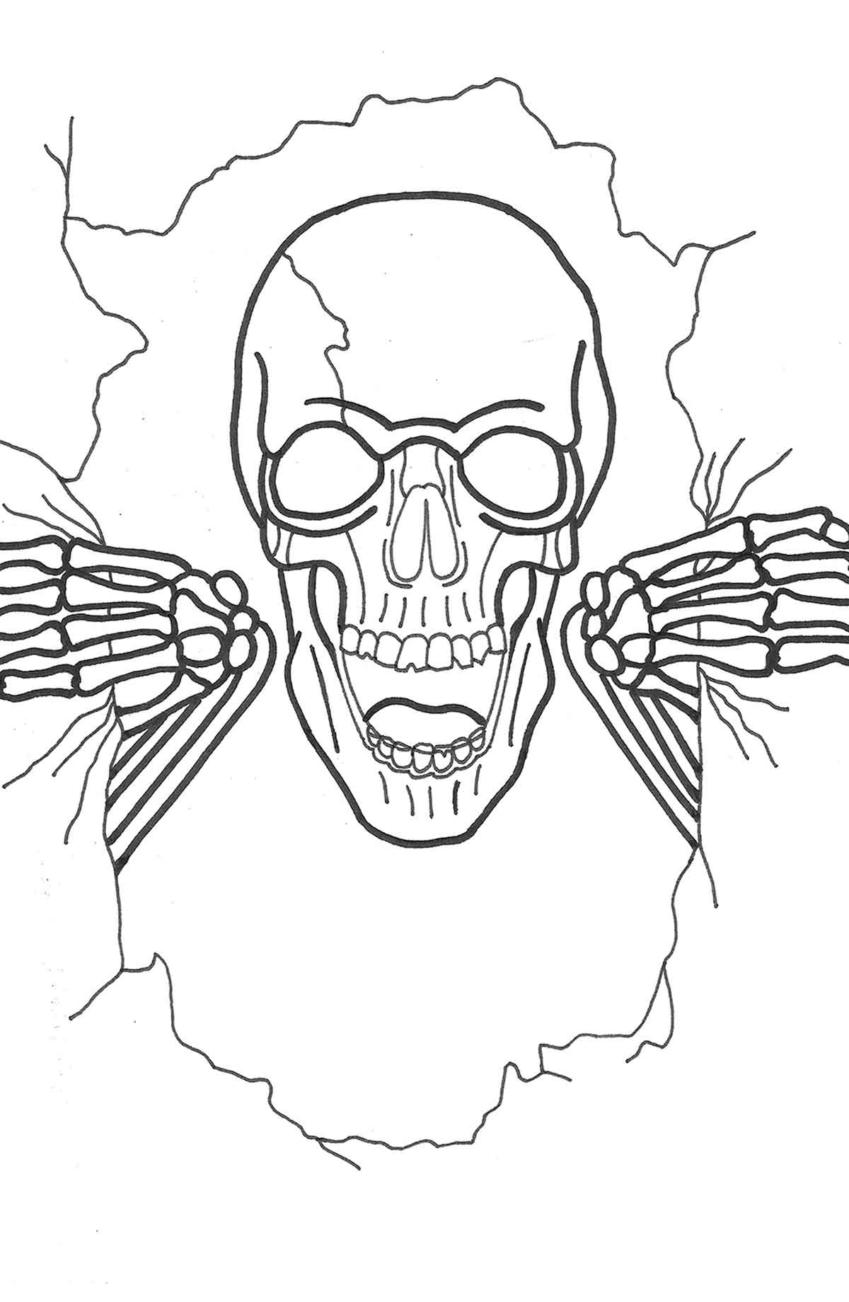 A marker sketch of the skeleton emerging from the poster.