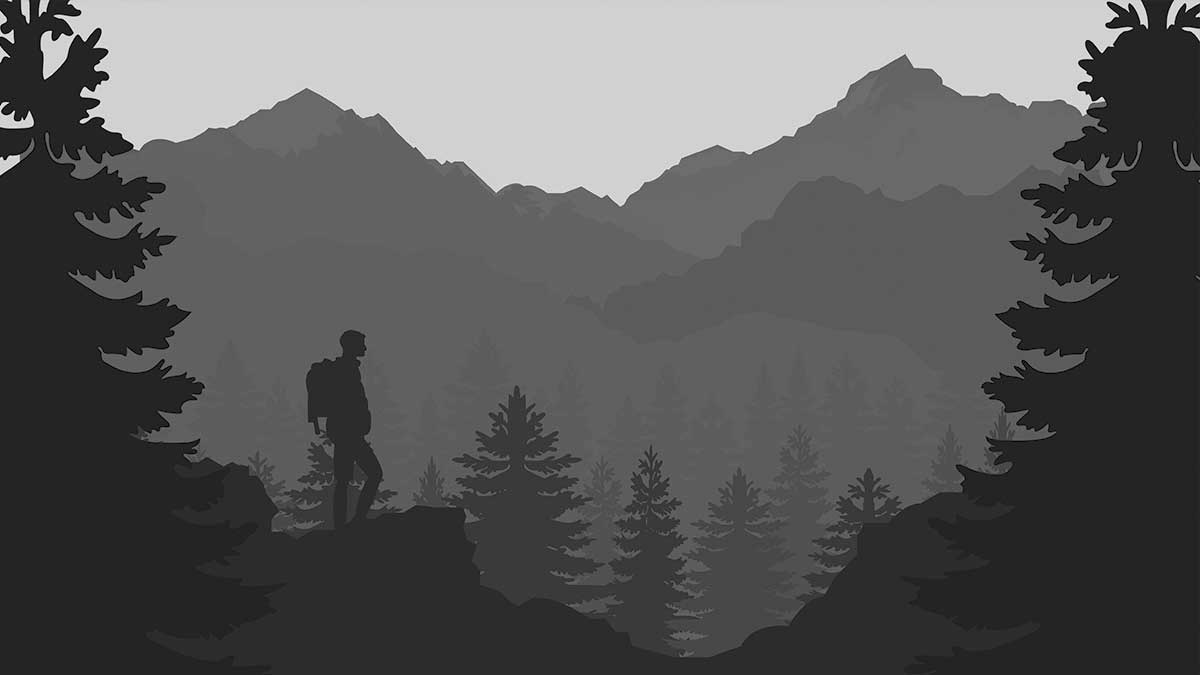 A preview of the main hiker and mountain illustration used in the moving mountains looping gif.