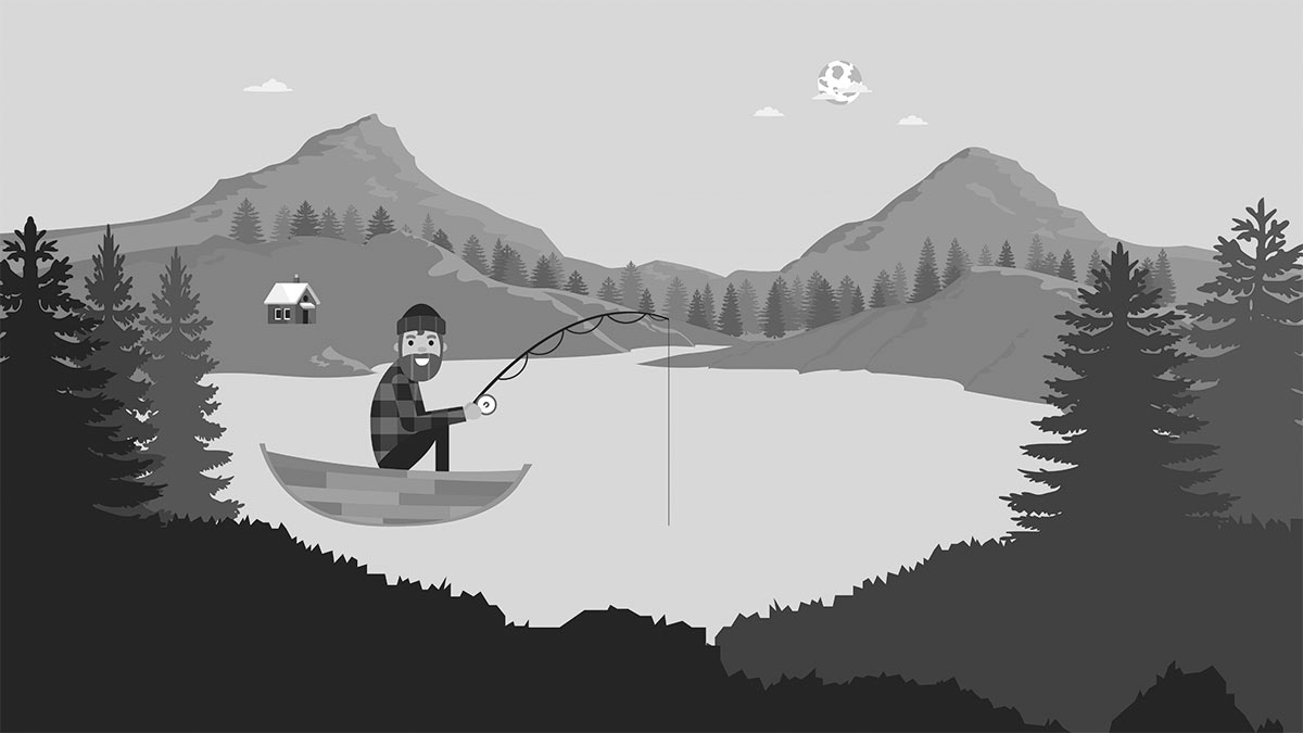 A preview of the fisherman illustration, brought to life in a looping gif.