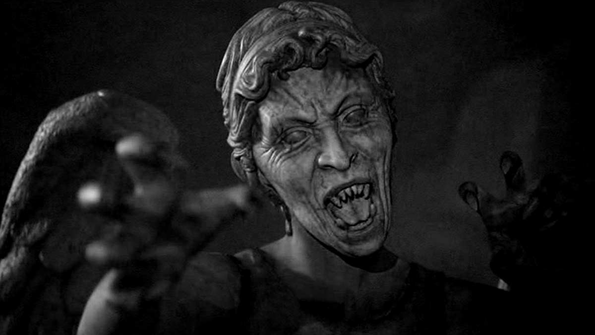 An image taken from Doctor Who of the weeping angels.