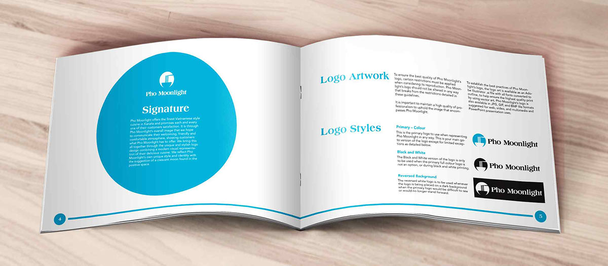 An example of the branding guidelines created around the Pho Moonlight logo design and rebrand.