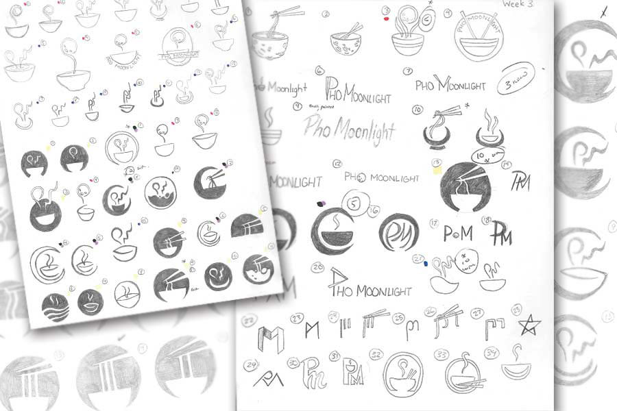 Rough pencil sketches, depicting my process of the logo design.