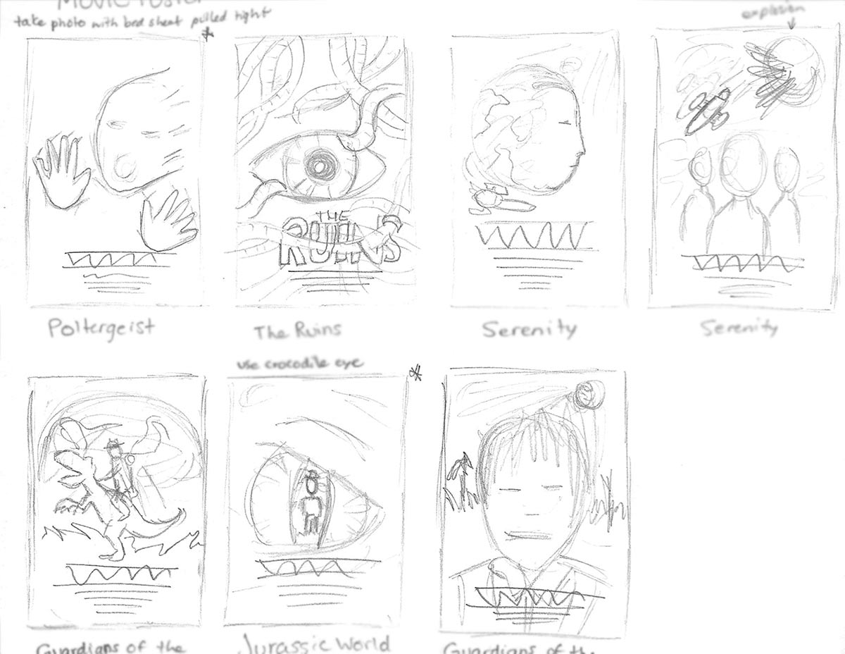 Pencil sketches of possible movie poster designs.