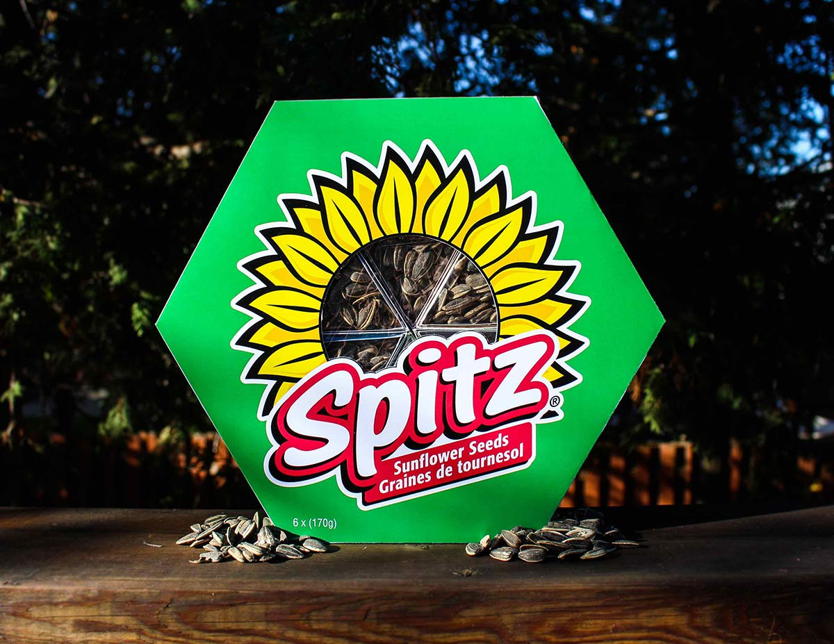 The large outer box of the Spitz packaging showing the brand consistency and creative package window display.