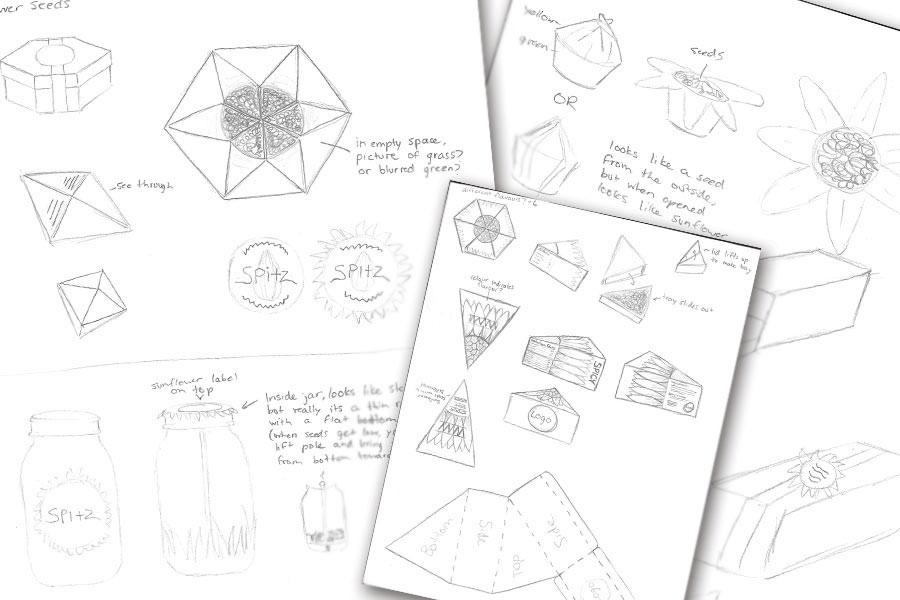 Pencil sketches showing my thought process for new environmentally friendly packaging.